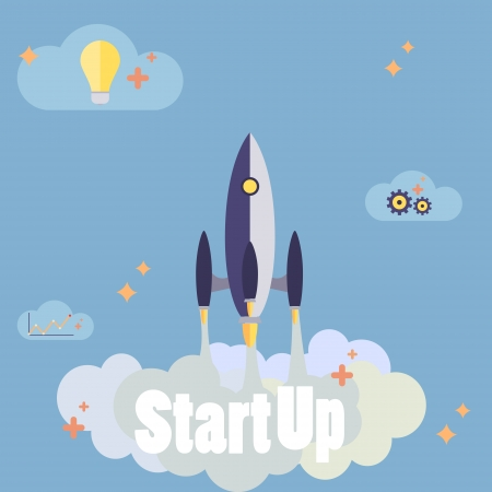Startup new business project with rocket