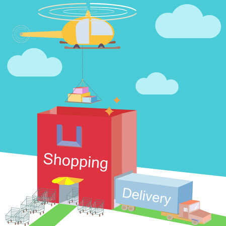 Shop storehouse as Shopping Bag Commerce and various logistic cargo shipping  Illustration