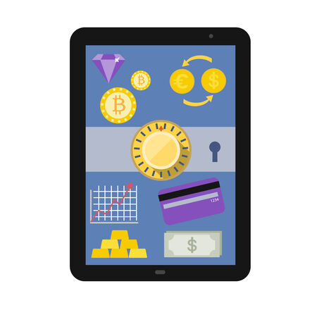 Online Banking service interface and e-commerce financial tools icons showing on tablet pc screen flat design illustration in  Illustration