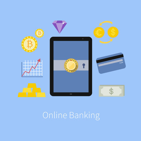 Online Banking service interface and e-commerce financial tools icons with tablet pc screen flat design illustration in