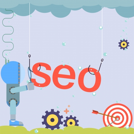 search engine optimized: Flat design SEO word with icons symbols of success internet searching web optimization process creative modern illustration