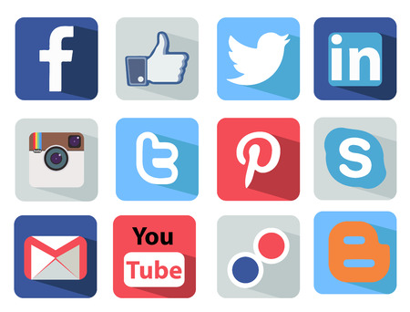 media gadget: Social Media icons set Illustration most popular of the world