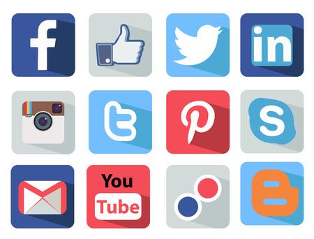 Social Media pictogrammen instellen Illustratie meest populaire van de wereld