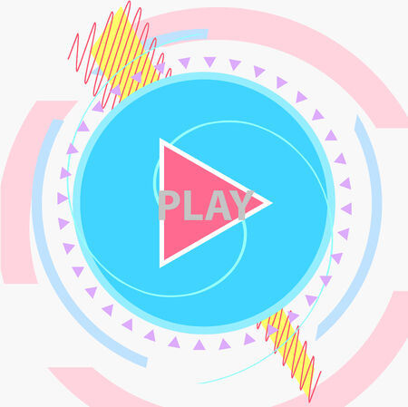 Play symbol flat vector modern design entertainment technology party poster print template Vector
