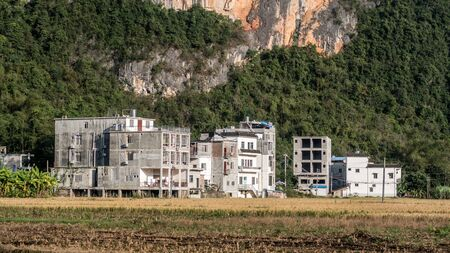 typical modern south chinese village in the region of guangxi near vietnam