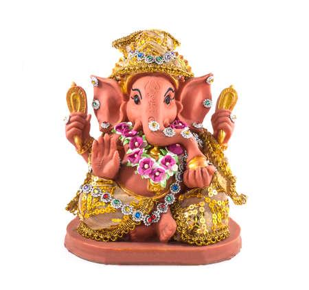 Hindu God Ganesha garnish with ornaments, over a white background.