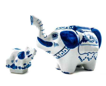 over: Chinaware Elephant figure teapot over white background. Stock Photo