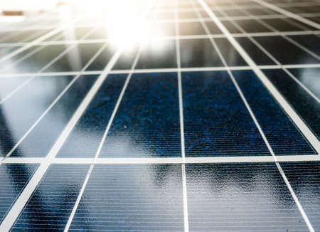 solarcell: Texture of Solar cell battery panel with selected focus filling frame. Stock Photo