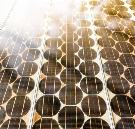 sunshines: Texture of Solar cell battery panel with sunshine. Stock Photo
