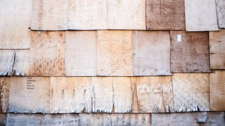 deteriorate: Cracked  wooden board, row and layer  wooden wall Stock Photo
