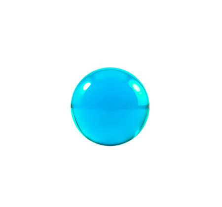 icey: Blue glass ball or marble over white background with clipping path.