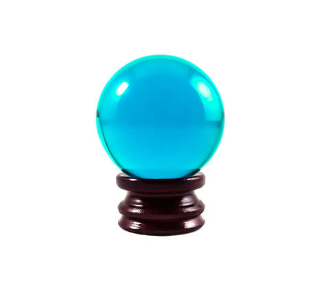 icey: Isolated Blue glass ball or marble on wooden base over white background with clipping path.