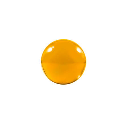 icey: Isolated Orange glass ball or marble over white background with clipping path.