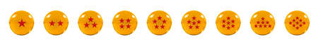 star path: Isolated Nine Orange glass balls or marbles and a red star figure on, over white background with clipping path.