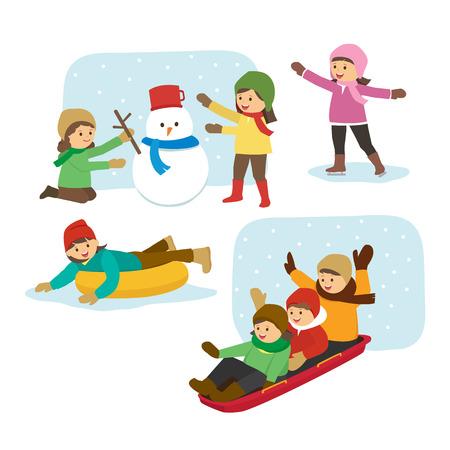 Zajęcia dla dzieci w zimie Ilustracje wektorowe