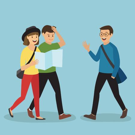 Coppie giovani turistici chiedere a un uomo per la direzione Vettoriali