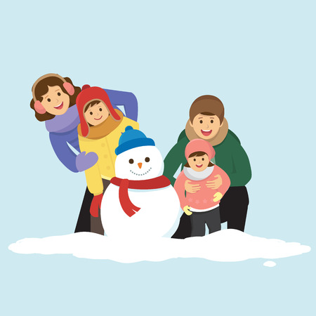 Happy Family With a Snowman