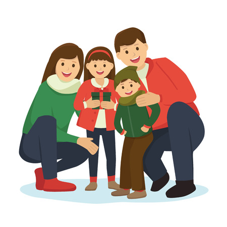 Happy big family in Christmas theme clothes Illustration