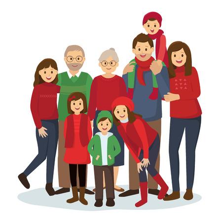 Gran familia feliz en ropa tema de la Navidad Foto de archivo - 64611819