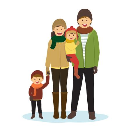 Familia feliz en ropa del invierno