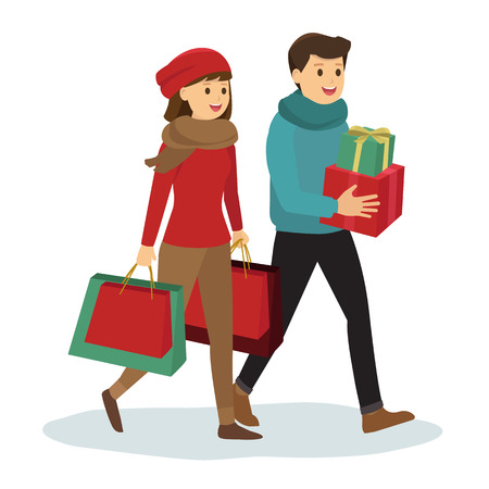 christmas spending: Young couple shopping for Christmas Illustration