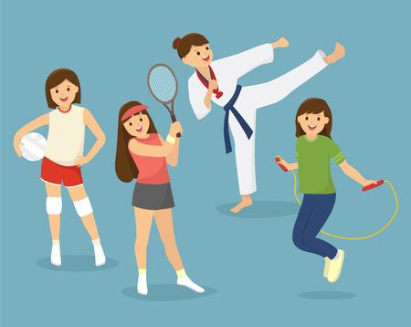 escuela infantil: Grupo de niños, deportes de los chicas. Vectores