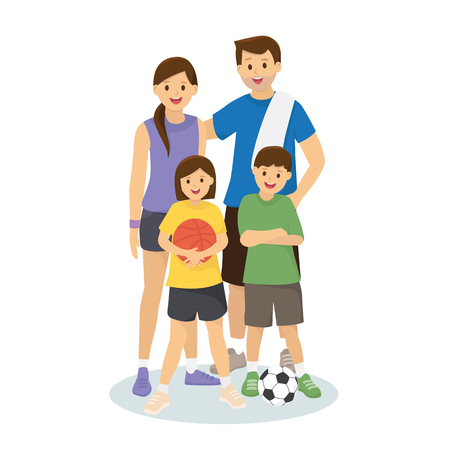 Family and kids in workout clothes with basketball and footbal