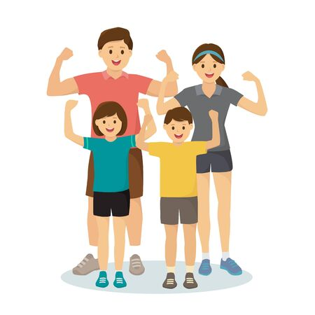 Sports family in exercise outfits