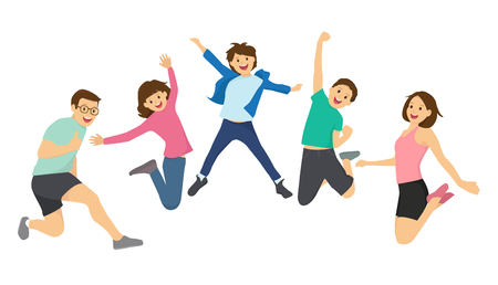 happy kids: Happy kids and family jumping together Illustration