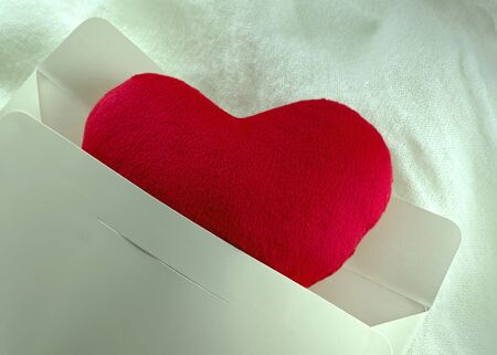 Love heart gift in envelop Stock Photo