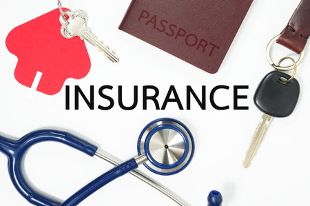Insurance concept with many type of insurance for home, car, health, travel, life 版權商用圖片