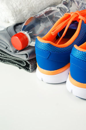 athletic wear: Fitness gym accessories with sport shoes and clothing