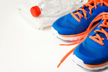 Fitness gym accessories with sport shoes Standard-Bild