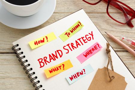 Merk marketing strategieconcept met notitieboekje, merkmarkering en koffiekop op bureau Stockfoto