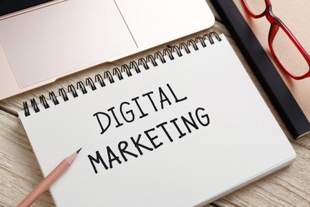 website plan: Digital marketing concept with laptop on office desk Stock Photo