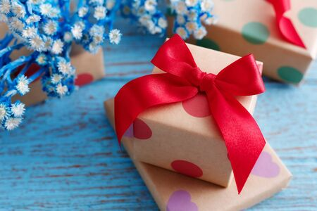 birthday present: Gift boxes for holiday on blue wooden table