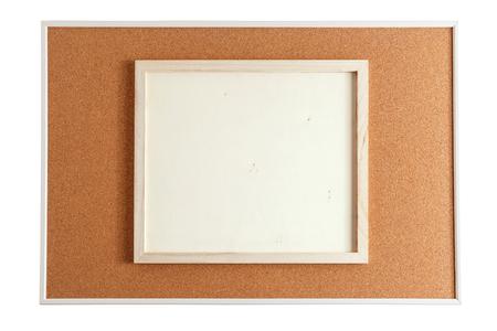 Wood Frame On Cork Board Isolated On White Background Stock Photo ...