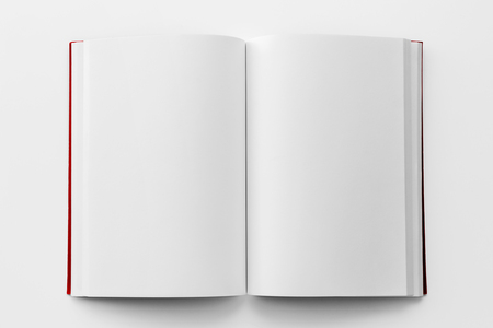 Blank book mockup with red cover from top view Standard-Bild