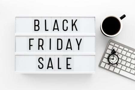 Black friday sale word on lightbox with computer keyboard Standard-Bild