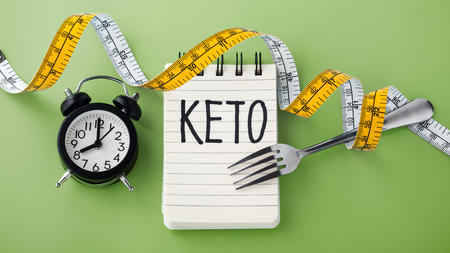 Keto word with clock, fork and measuring tape around on green background