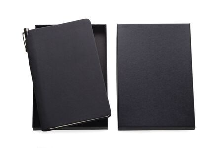 Black pu leather notebook in box with pen holder, mockup isolated on white background, business gift