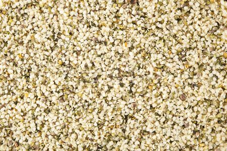 Hemp seeds background and texture from top view