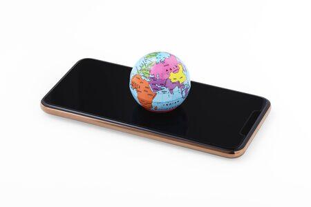 World map on smartphone isolated on white background