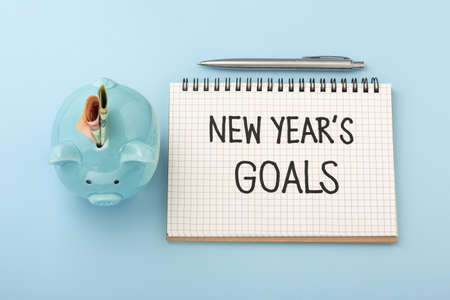 New year goals text on notebook with piggy bank and money on blue background