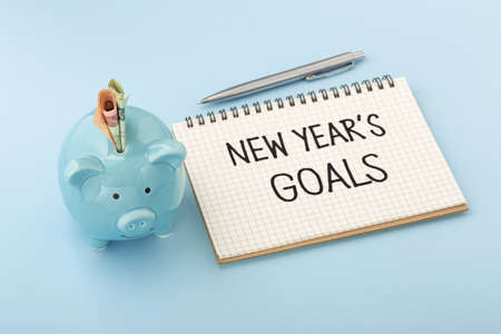 New year goals with piggy bank and money on blue background 版權商用圖片