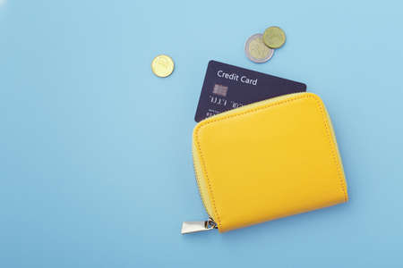 Credit card in wallet with coins on blue background, flatlay with copy space
