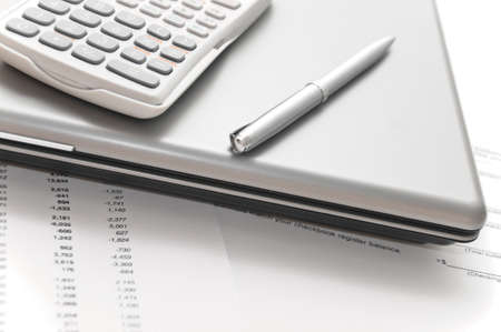 taxes budgeting: Financial papers and tools to write or analyze them: notebook, scientific calculator and elegant silver pen