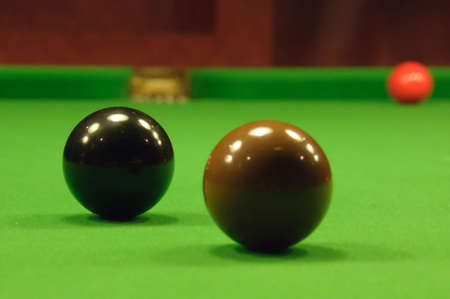 snooker balls: Close-up of two colored snooker balls