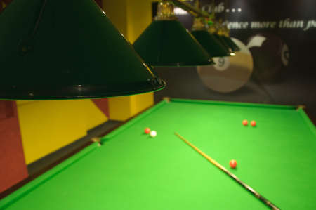 Lights above a snooker table in a romanian pub Stock Photo - 6282922