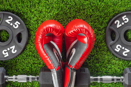 Red boxing gloves and dumbbells on the grass